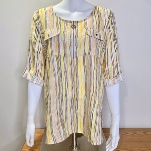 Cathy Yellow Striped 3/4 Zip High Low Linen Tunic